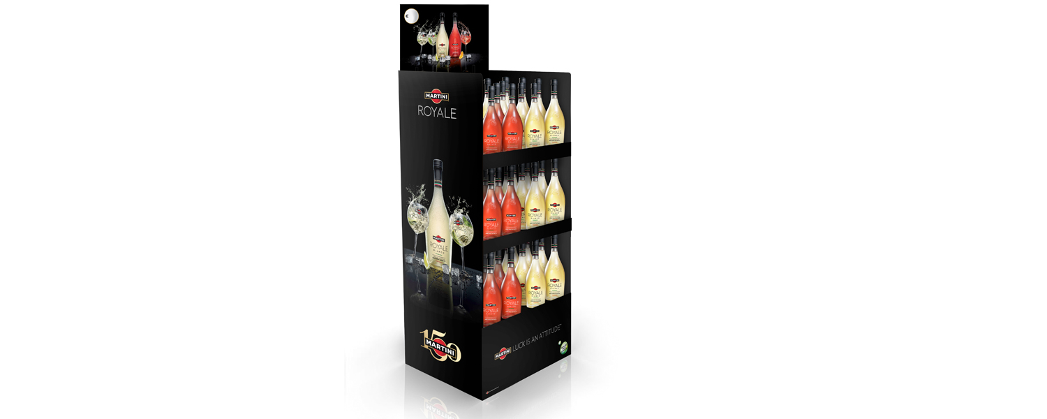 Martini Royale display en glasdoosjes